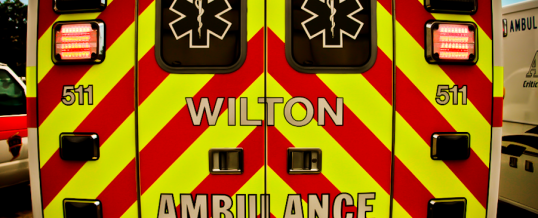 Yellow and Red Ambulance Rear Photo